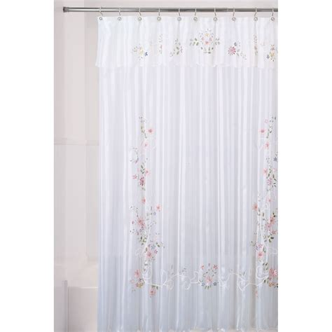 shower curtains kmart essential home shower curtain ribbon flower fabric home