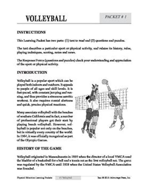 printable high school volleyball rules volleyball an academic learning packet kid worksheets