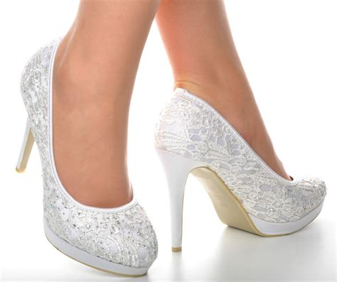 white lace high heels satin white crochet lace diamante wedding high heels