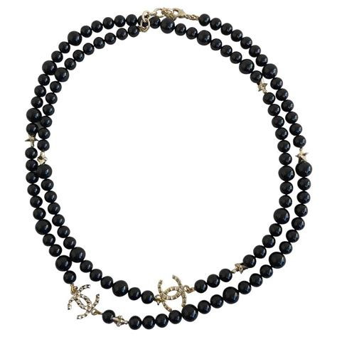 chanel beaded necklace chanel black beaded necklace for sale at 1stdibs