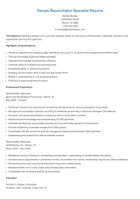resume sles sle reconciliation specialist resume