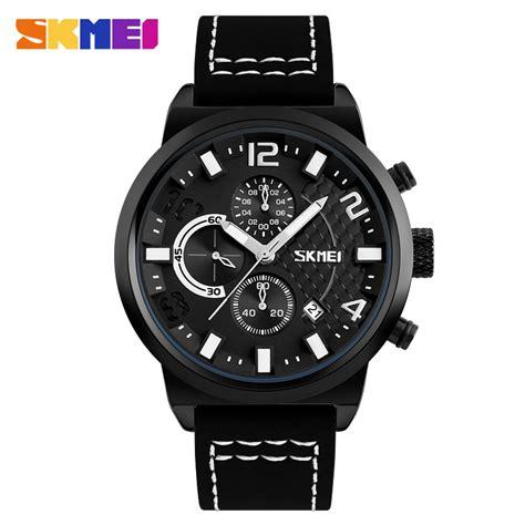 Skmei Jam Tangan Analog Analog Kulit Waterproof skmei jam tangan analog pria 9149cl black white jakartanotebook