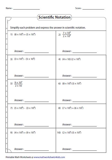 Scientific Notation To Standard Form Worksheet by Scientific Notation Worksheets