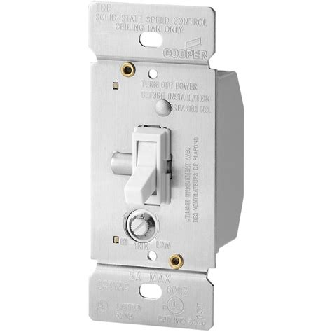 variable speed fan control switch eaton 5 amp single pole variable fan speed control white