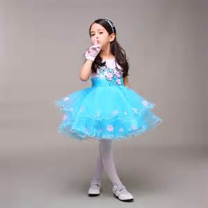 ice blue pink little pageant dress with flowers short puffy kids formal gown birthday dress