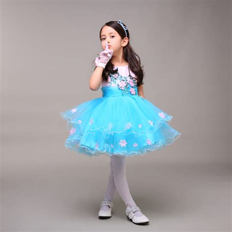 kids formal short dress ice blue pink little girl pageant dress with flowers short