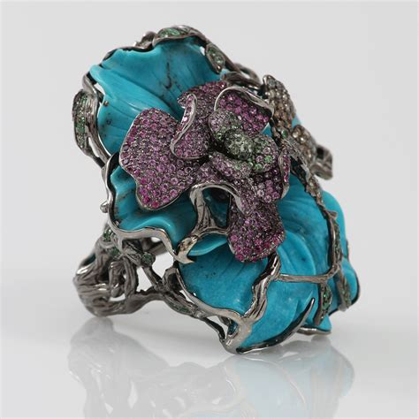 Carved Flower Rings 2 by Wendy Yue Carved Turquoise Flower Ring In Blue Lyst