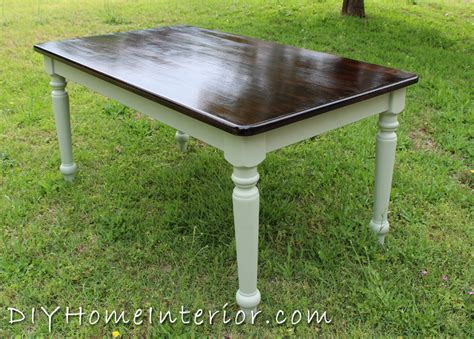 How To Stain Dining Table Refinishing A Dining Room Table With Paint And Wood Stain Diy Home Interior