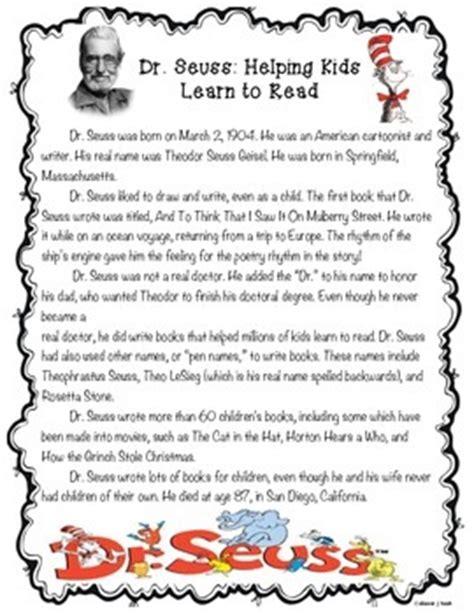 biography reading comprehension 3rd grade dr seuss biography reading comprehension read across
