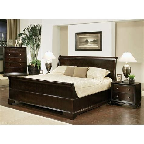 Espresso King Size Bedroom Set by Abbyson Living Kingston 4 Espresso Sleigh King Size