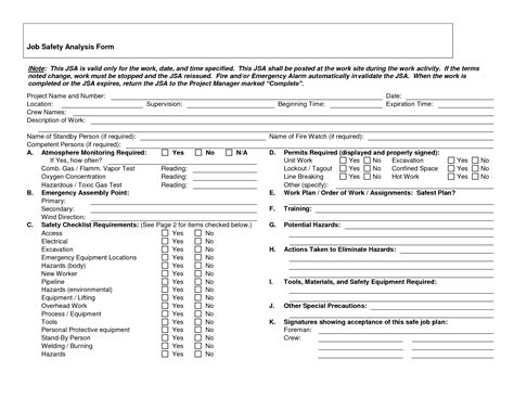 jsa form template safety analysis forms safety analysis form doc