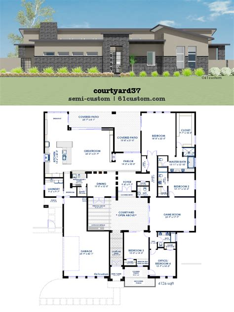 house plan with courtyard modern courtyard house plan 61custom contemporary modern house plans