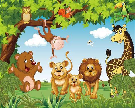 top gambar hutan  binatang kartun kolek gambar
