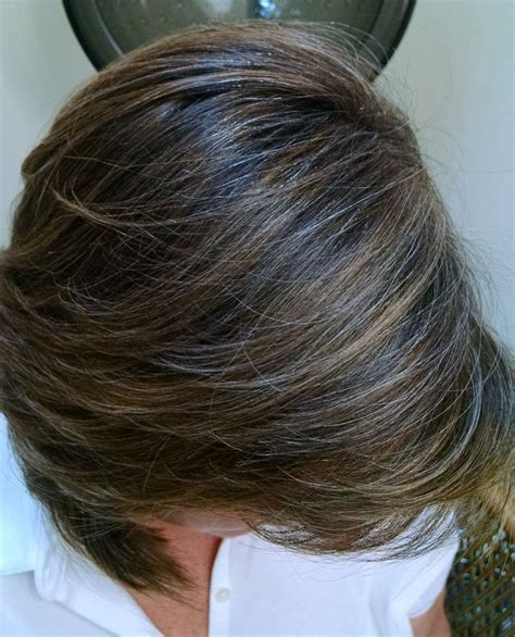 how to grow in gray hair with highlights salt and pepper hair with brown lowlights short