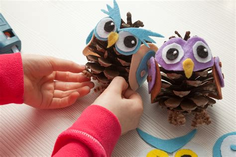 owl creations from pine cones and fluff pine cone owl craft