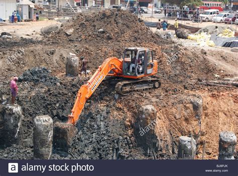 environmental impact and hazards deeply excavating soil for stock photo royalty free image