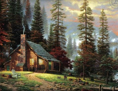 Log Cabin Paintings by Kinkade Log Cabin Painting Search Misc