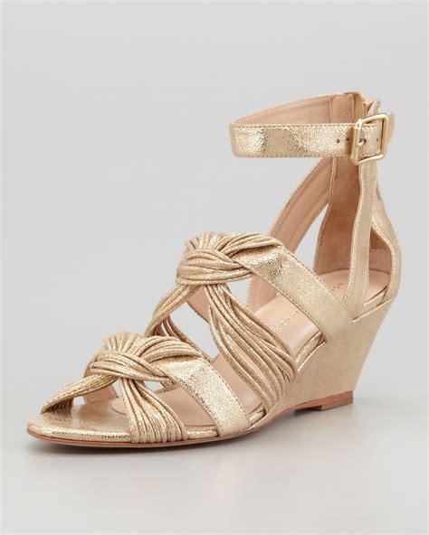 loeffler randall sandal loeffler randall alana metallic midwedge sandal in gold lyst