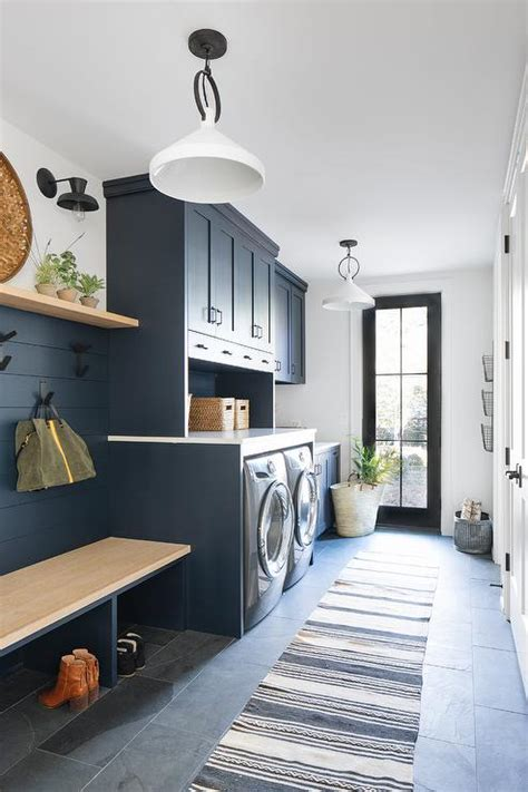 blue laundry room  mudroom cabinets transitional