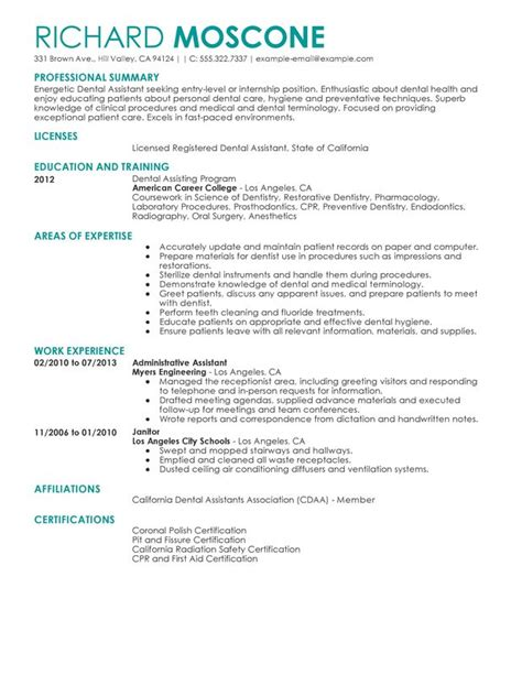 Certified Dental Assistant Resume Professional Dental Assistant Templates To Showcase Your