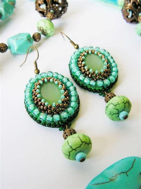 beadwork green green turquoise beadwork earrings bead embroidery earrings