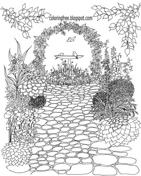 detailed garden coloring pages flower garden coloring page gardening coloring pages for