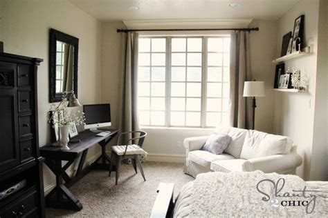 bedroom with desk windows diy shades and panels shanty 2 chic