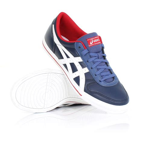 mens asics aaron navy blue white lace up casual shoes