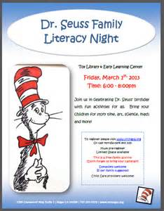 Family reading night activities free dr suess literacy night march