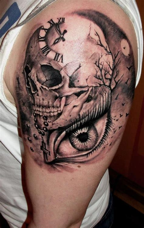 tattoo eye skull clock with skull and eye tattoo on shoulder tattooimages biz
