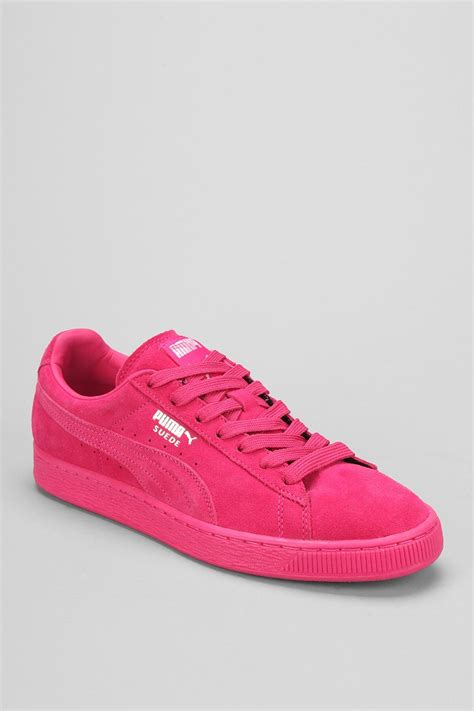 classic sneaker lyst classic mono suede sneaker in pink for