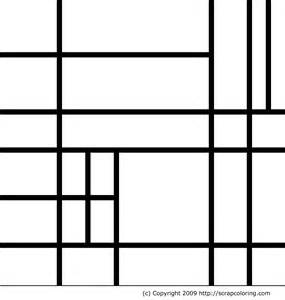 composition in the style of piet mondrian coloring page