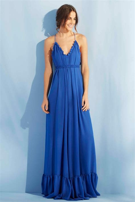 fotos penes finos y largos vestido largo azul de fiesta