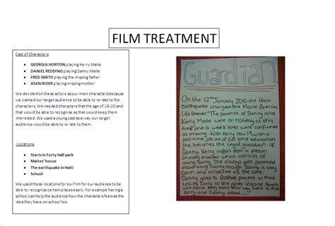 film treatment template image search results