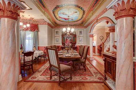 simply divine pastel pink coral victorian era dining room
