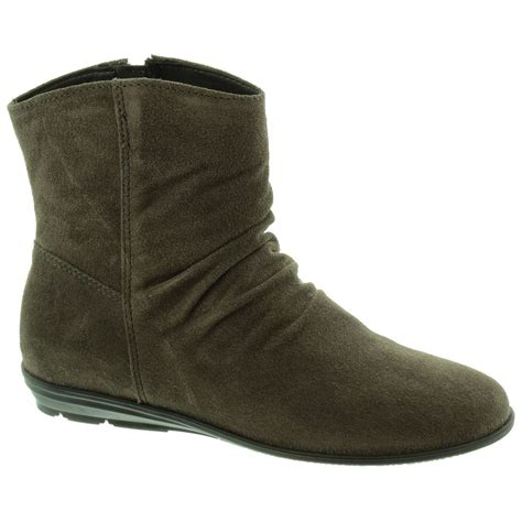 tamaris 25430 slouch ankle boots in grey suede in grey suede