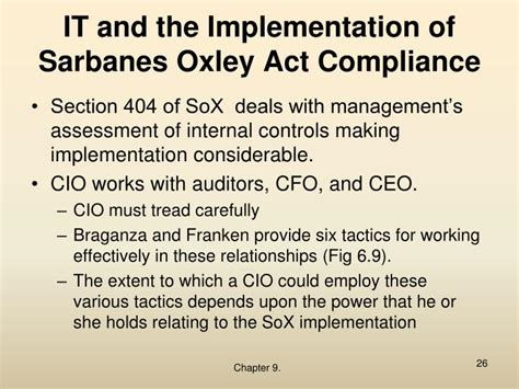 Section 404 Of The Sarbanes Oxley Act by