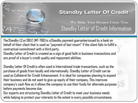 Standby Letter Of Credit At Sight avail standby letter of credit sblc bronze wing trading