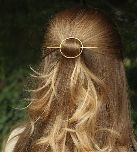 metal hair hammered circle hair barrette stick s