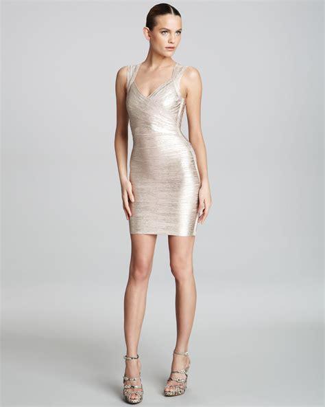 Herve Dress herv 233 l 233 ger shimmer bandage dress in metallic lyst