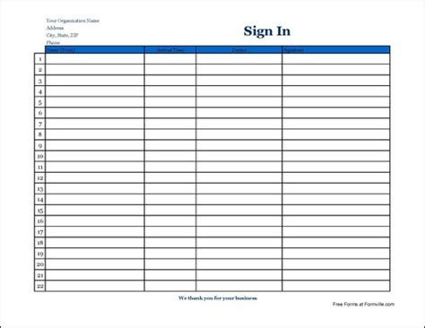 free simple company patient sign in sheet with signature