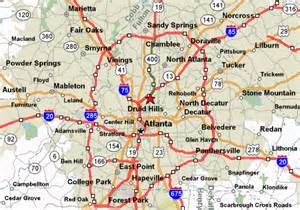 Atlanta Area Map by Map Of Atlanta Ga Grey