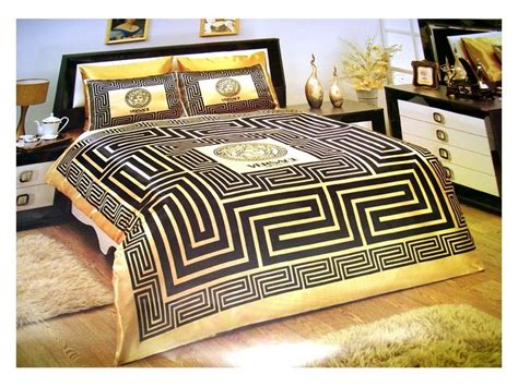 versace bedding set satin medusa duvet set black gold