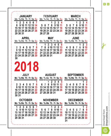 Almanacka år 2018 Grid Pocket Calendar 2018 Stock Vector Image Of Grid