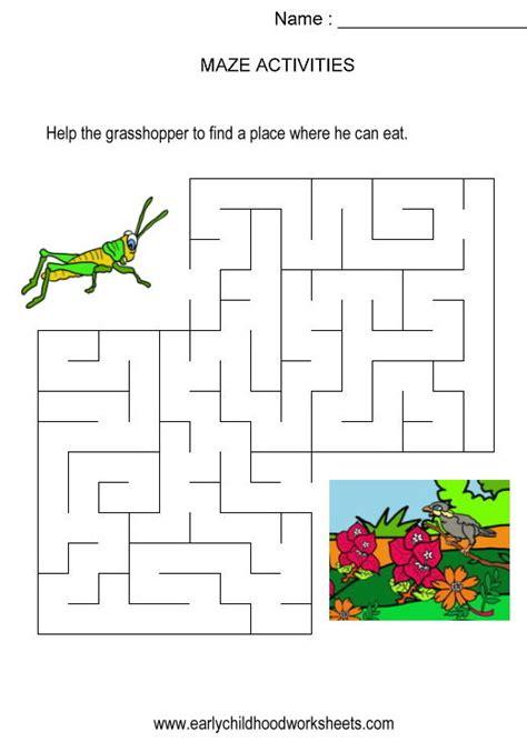 printable maze game for preschoolers grasshopper to plants maze kids activity visual skills