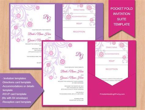 Items Similar To Pocket Fold Wedding Invitation Template Lavender Fucshia Diy Pocket Folder Pocket Invitation Template