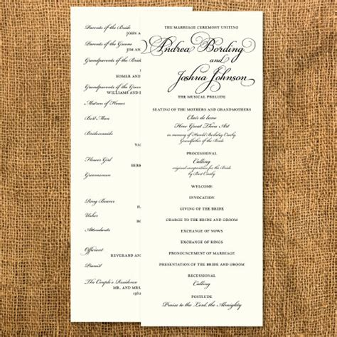 what goes in a wedding program formal wedding ceremony program by janinemikell on etsy