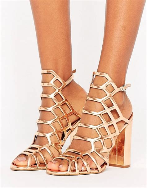 Steve Madden Skales Gold Steve Madden Caged Heels Sepatu Branded steve madden steve madden skales metallic block heeled sandals