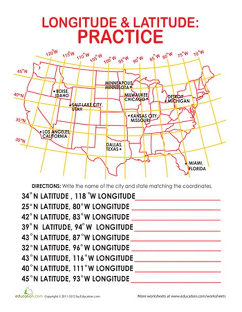texas latitude and longitude map latitude and longitude of cities worksheets texas and social studies