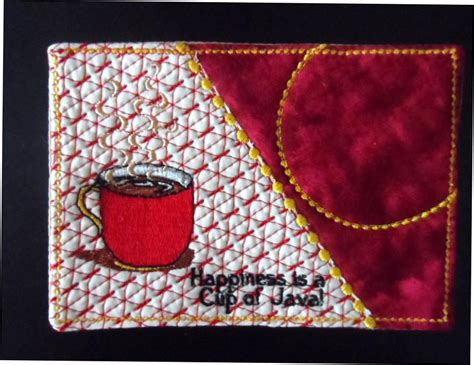 in the hoop mug rug cup of java and cup of chocolate mug mat mug rug in the hoop embro embroidery by edytheanne